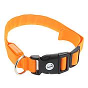 Kat Hund Krave LED Lys Justerbare / Uttrekkbar Ensfarget Nylon Oransje