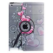 Funda Para iPad 4/3/2 con Soporte Rotación 360º Funda de Cuerpo Entero Corazón Cuero de PU para iPad 4/3/2