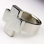 과냉 블랙 크로스 성경 티타늄 강철 반지