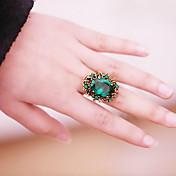 (1 개) 유행 여자의 녹색 마노 문 반지