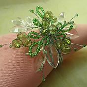 녹색 꽃 아크릴 구슬 냅킨 꽂이, 12 Dia4.2-4.5CM 세트