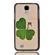 Clover y Cat Pintura Relieve Patrón tapa dura de plástico trasera para Samsung Galaxy S4 i9500