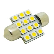 31mm 1W 12x3528 SMD 50lm 2800 ~ 3200K varm hvit lys LED pære for bil Festoon Dome Leselampe (DC 12V)