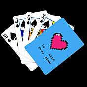 포커 게임 카드 개인화 된 선물 파란 하트 패턴