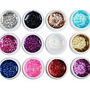12PCS Mixs color cequis del brillo del gel del color ULTRAVIOLETA de las extremidades del clavo de la manicura (8 ml)