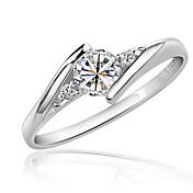 Dame Ring Syntetisk Diamant Kjærlighed Elegant Zirkonium Kubisk Zirkonium Platin Belagt Rund Smykker Bryllup Fest Bursdag Engasjement