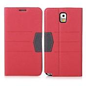 용 Samsung Galaxy Note 카드 홀더 / 스탠드 / 플립 케이스 풀 바디 케이스 단색 인조 가죽 Samsung Note 3