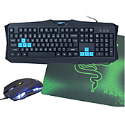Med ledning Mus tastaturkombinasjon Med musematten bakgrunnsbelyst USB Port Gaming tastatur