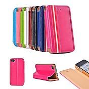 패션 스타일 PU 가죽 아이폰 4 / 4S를위한 스탠드와 카드 슬롯이있는 풀 바디 케이스 (모듬 색상)