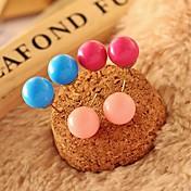 hermoso color caramelo pendiente de la bola pendientes exquisitos un par (colores surtidos)