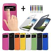 Funda Para Samsung Galaxy Funda Samsung Galaxy con Ventana Activado / Apagado Automático Flip Funda de Cuerpo Entero Color sólido Cuero