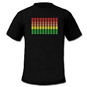 소리와 음악을 활성화 스펙트럼 VU 미터 엘 비주얼 주도 t-셔츠 (2 * AAA)
