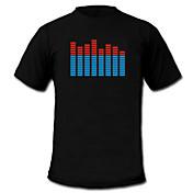 소리와 노래로 인해 작동하는 스펙트럼VU 미터 EL 비쥬얼라이저 LED 티셔츠 (4*AAA)