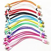 USB 3-en-1 a 8 pines / 30pin / microUSB / sincronización de datos / cable de fideos cargador para Samsung y otros teléfonos (color clasificado)