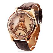 reloj de lujo Eiffel de diamantes de las mujeres de moda personalizados banda pu torre