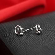 plata de ley clásica de plata aretes de oreja pendientes de la moda de uñas de la mujer