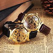 Hombre Reloj de Pulsera El reloj mecánico Huecograbado Cuerda Automática Piel Banda De Lujo Negro Marrón