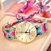 Geneva Mujer Cuarzo Reloj Pulsera Reloj Casual Tejido Banda Bohemio Moda Múltiples Colores
