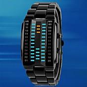 Hombre Reloj Deportivo Reloj creativo único Reloj digital Digital LED Resistente al Agua Aleación Banda De Lujo Negro Plata Negro Plata