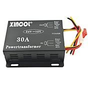 xincol® kjøretøy bil dc 24v til 12v 30a strømforsyning transformator konverter-svart