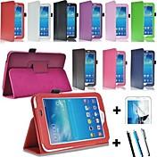 Funda Para Samsung Galaxy Funda Samsung Galaxy con Soporte Flip Magnética Funda de Cuerpo Entero Un Color Cuero de PU para Tab 3 7.0