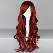 Mujer Pelucas sintéticas Largo Ondulado Medio Rojo Parte lateral Con flequillo Peluca de Halloween Peluca de carnaval Pelucas para Disfraz