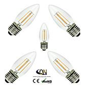 ONDENN 5pcs 2800-3200 lm E26/E27 LED-glødepærer C35 4 leds COB Mulighet for demping Varm hvit AC 110-130V AC 220-240V