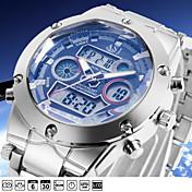 ASJ Hombre Cuarzo Reloj de Pulsera Reloj Deportivo Japonés Despertador Calendario Cronógrafo Resistente al Agua Dos Husos Horarios LCD