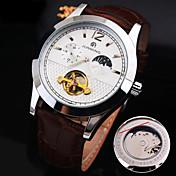 Hombre El reloj mecánico Reloj Esqueleto Cuerda Automática Huecograbado Resistente al Agua Gran venta Cuero Auténtico Banda Encanto
