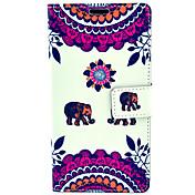 patrón de elefante lindo con el caso bolso de la tarjeta de cuerpo completo para Samsung Galaxy Note 4 n9100