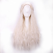 Pelucas sintéticas Ondulado Pelo sintético Raya en medio / Peluca con trenzas Blanco Peluca Mujer Larga Sin Tapa