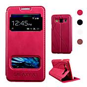 For Samsung Galaxy Etui med stativ / med vindu / Flipp Etui Heldekkende Etui Ensfarget PU-lær Samsung A3