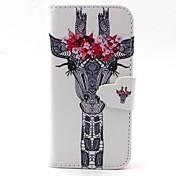 아이폰 5C 흰색 사슴 카드 슬롯과 꽃 패턴 PU 가죽 전신 경우 머리와 서