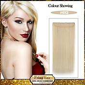 5 klipp lang rett bleike blonde (# 613) syntetisk hår klippet i hair extensions for damer