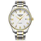 GUANQIN Hombre Reloj de Pulsera Simulado Diamante Reloj Calendario Resistente al Agua Cuarzo Acero Inoxidable Banda Plata