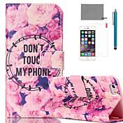 Etui Til Apple iPhone 6 iPhone 6 Plus Kortholder med stativ Heldekkende etui Blomsternål i krystall Hard PU Leather til iPhone 6s Plus