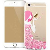 estampado de flores de color rosa niña de TPU caso suave para el iphone 6 / 6s