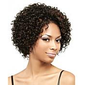 Pelucas sintéticas Rizado Peluca afroamericana Marrón Mujer Sin Tapa Corta Pelo sintético