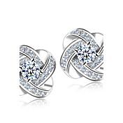 Hombre Mujer Diamante sintético Cristal Brillante Plateado Pendientes cortos - Nupcial Elegant Moda Estilo Simple Plata Flor Aretes Para