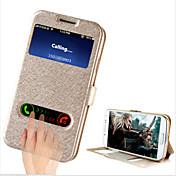 Funda Para Samsung Galaxy Funda Samsung Galaxy con Soporte con Ventana Flip Funda de Cuerpo Entero Color sólido Cuero de PU para S4