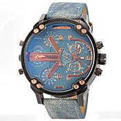 JUBAOLI Hombre Cuarzo Reloj de Pulsera Reloj Militar Dos Husos Horarios Piel Banda Encanto Negro Azul Gris Amarillo