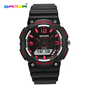 SANDA 남성용 여성용 스포츠 시계 손목 시계 디지털 LCD 크로노그래프 방수 듀얼 타임 존 스포츠 시계 PU 밴드 블랙