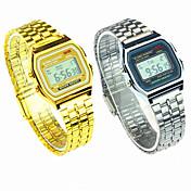 Hombre Mujer Pareja Reloj de Vestir Reloj de Moda Digital Reloj Casual Acero Inoxidable Banda Encanto Plata Dorado