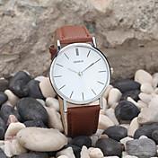 Hombre Reloj de Pulsera Cuarzo Reloj Casual Piel Banda Minimalista Negro Blanco Marrón Dorado
