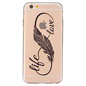 Para iPhone 6 iPhone 6 Plus Carcasa Funda Transparente Cubierta Trasera Funda Plumas Suave TPU para iPhone 7 Plus iPhone 7 iPhone 6s Plus
