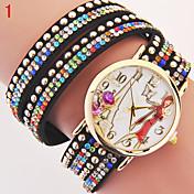 Mujer Reloj de Moda Reloj Pulsera Cuarzo La imitación de diamante PU Banda Múltiples Colores # 6 # 7 # 8 # 9 # 10