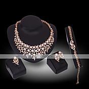 Mujer Diamante sintético Perla Joyería de Lujo Piedras preciosas sintéticas Perla 18K de oro Diamante Sintético 1 Collar 1 Par de
