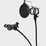 el montaje de choque soporte de micrófono de pie con filtro pop integrado y soporte para teléfono móvil kit negro