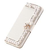 케이스 제품 아이폰5케이스 카드 홀더 크리스탈 스탠드 플립 마그네틱 풀 바디 한 색상 하드 인조 가죽 용 iPhone SE/5s iPhone 5