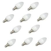 10pcs 3W 200lm E14 LED-lysestakepærer C35 8 LED perler SMD 2835 Dekorativ Varm hvit Kjølig hvit 220-240V